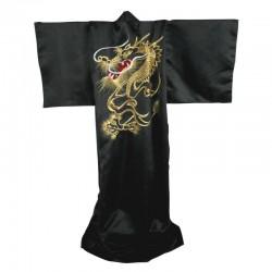 """ARTICOLI ALLENAMENTO Kimono Giappone. Raso. Nero """"Dragone Bordato Oro"""". T/unica"""